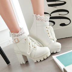 LACE PU HEELS BOOTS(4.5-11)
