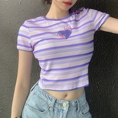 HEART EMBROIDERED STRIPED CROP TOP