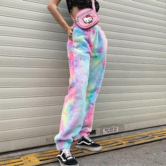 RAINBOW FUR CASUAL PANTS