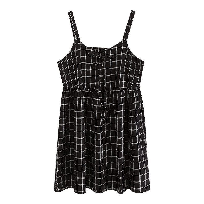 BLACK GRID DRESS