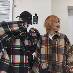 VINTAGE CHECKED WOOLEN SHIRT JACKET