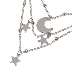 STAR MOON PENDANT MULTI LAYER NECKLACE