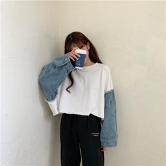 DENIM STITCHING LONG SLEEVE TOP