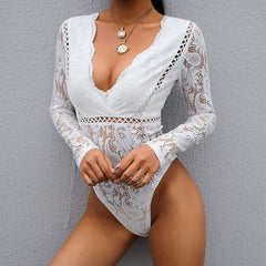 V-NECK LACE OPENWORK STITCHING JUMPSUIT