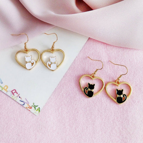 HEART KITTEN EARRINGS