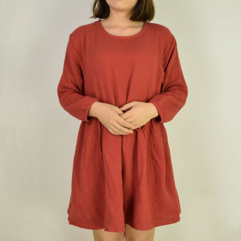 RED SIMPLE LOOSE DRESS
