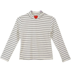STRIPED HEART TURTLENECK