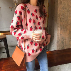 STRAWBERRY LAZY SWEATER