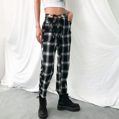 LACE UP PLAID PANTS