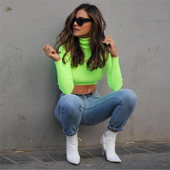 NEON GREEN CROPPED TURTLENECK