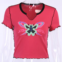 BUTTERFLY PRINT V-NECK CROP TOP