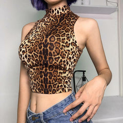 LEOPARD TURTLENECK TOP