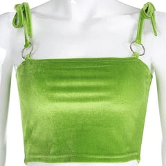 O RING GREEN VELVET CROP TOP