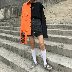 BLACK AND ORANGE BLOCK SHIRT