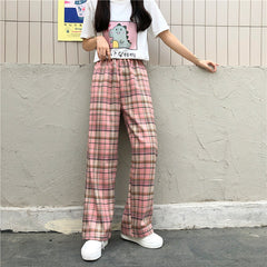 PINK PLAID WIDE LEG PANTS