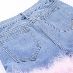 LOLA PINK FUR DENIM SHORTS