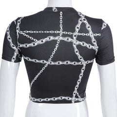 CHAIN PRINTED CROP TOP