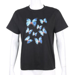 COLORFUL BUTTERFLY PRINT TEE