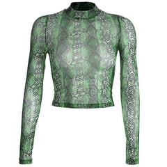 SHEER GREEN SNAKEPRINT CROP TOP
