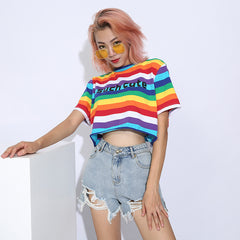 SUCH CUTE RAINBOW CROPPED TOP
