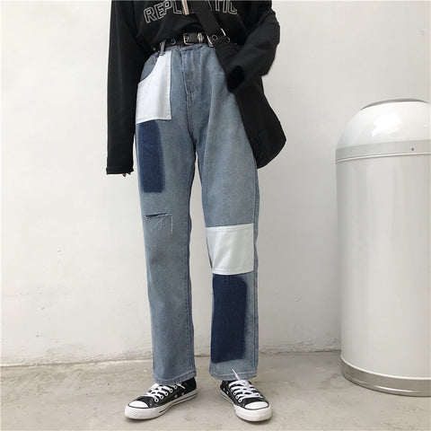 HIGH-RISE RIPPED PATCH JEANS