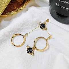 ASYMMETRICAL PLANET GEOMETRIC CIRCLE EARRINGS