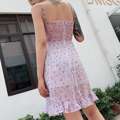 FLORAL OPENWORK SLEEVELESS DRESS
