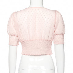 PINK POLKA DOT SQUARE NECK PLEATED SHIRT