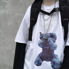 BEAR FAKE TWO-PIECE LONG SLEEVE T-SHIRT