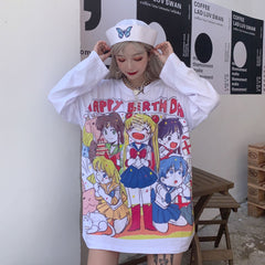 SAILOR MOON PRINT LONG SLEEVE TOPS