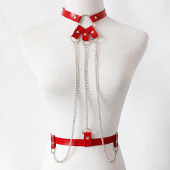 LEATHER HARNESS CHAIN BODY NECKLACE