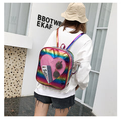 TRANSPARENT HEART HOLOGRAPHIC BACKPACK