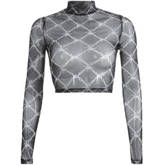 MESH BARBED WIRE LONG SLEEVE