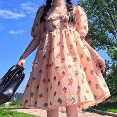 STRAWBERRY PRINT BOW DRESS
