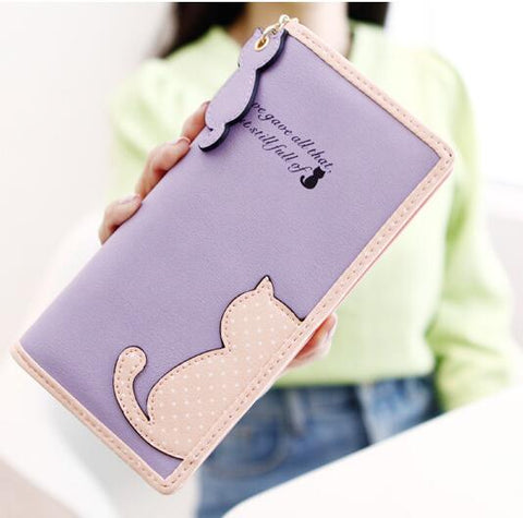 CAT DOT CONTRAST ZIPPER LONG WALLETS