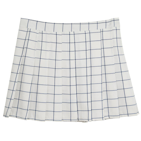 WHITE GRID PLEATED SKIRT