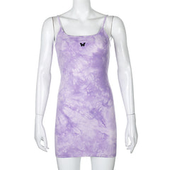 PURPLE TIE DYE BUTTERFLY DRESS