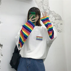 RAINBOW SLEEVE FAKE TWO PIECE TOP