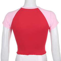 STRAWBERRY FRILLED HEM TOP