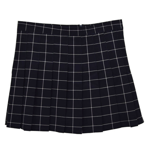 BLACK GRID PLEATED SKIRT