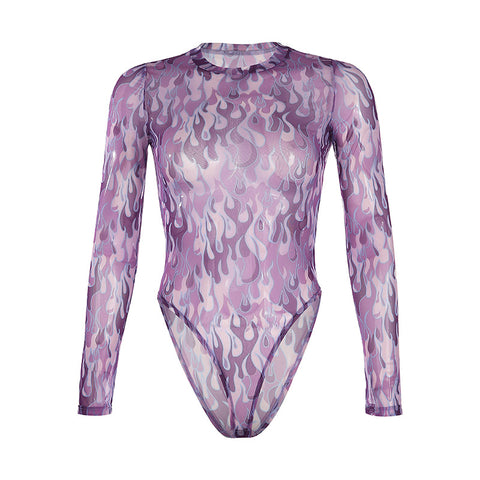 PURPLE FLAME MESH BODYSUIT