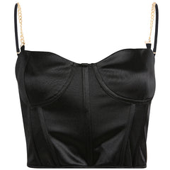 SILK CHAIN CORSET CROP TOP