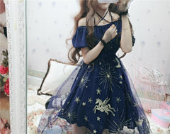 GALAXY NET YARN DEW SHOULDER DRESS