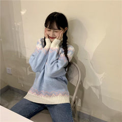 RETRO STITCHING COLOR SWEATER