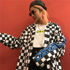 CHECKERBOARD PLAID BACK FLAME SHIRT COAT