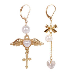 ANGEL WINGS PEACH HEART CROSS ASYMMETRIC EARRINGS