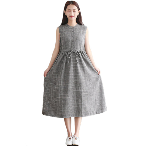 GREY BOW CHECKERED DRESS