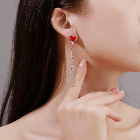 THAN HEART TASSEL ASYMMETRIC EARRINGS