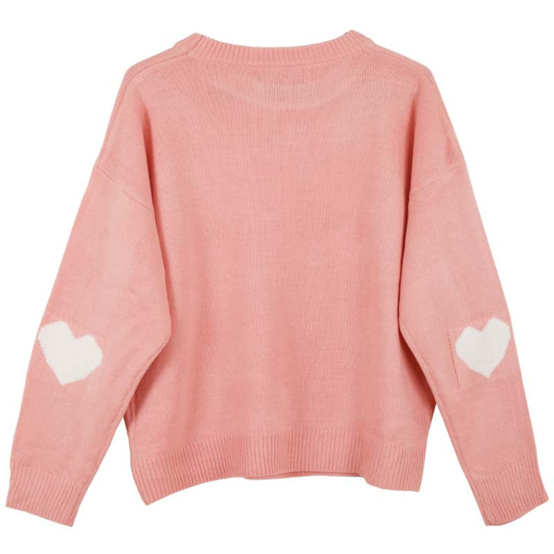 PINK HEART SLEEVE KNITTED