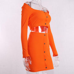 ORANGE KNITTED OFF SHOULD SET
